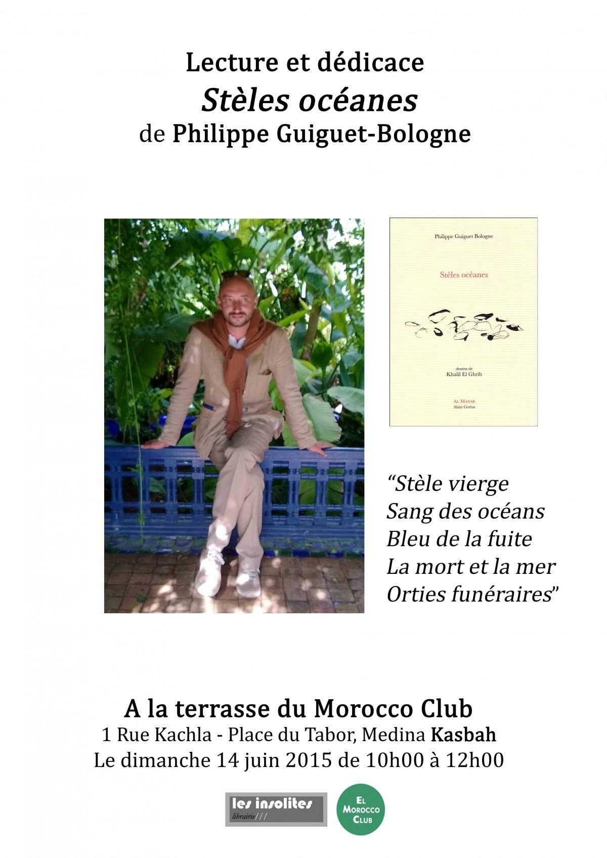 Lecture de Stèles océanes au Morocco Club de Tanger par Delphine Mélèze, 14 juin 2015 - Philippe Guiguet Bologne